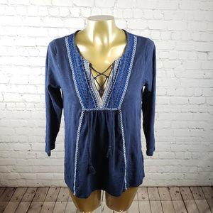 Lucky Brand Blue Long Sleeve Boho Top